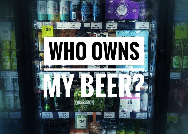 Who Owns My Beer over picture of bottle shop fridge